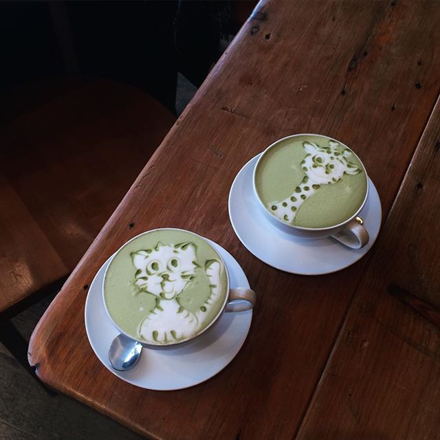 Cutest matcha lattes with the cutest date.