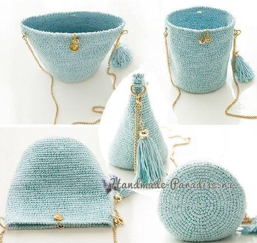 Стильная вязаная сумочка через плечо своими руками (3)