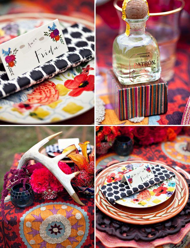 Frida Kahlo inspired wedding.  Colorful table setting