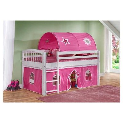 Addison White - Junior Loft Bed Pink - Alaterre Furniture