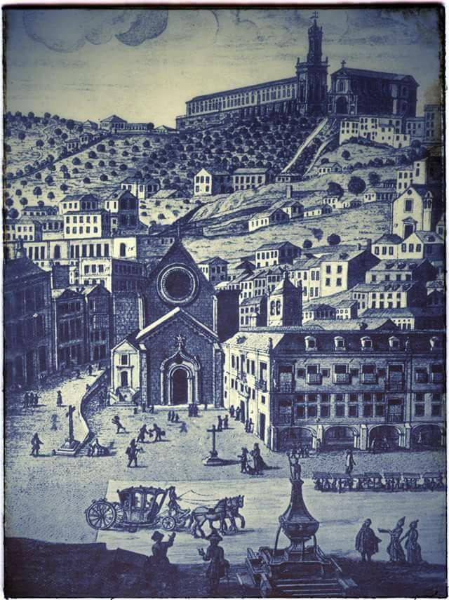 O Rossio anterior ao terramoto de 1755, com o célebre chafariz. Em Lisboa…
