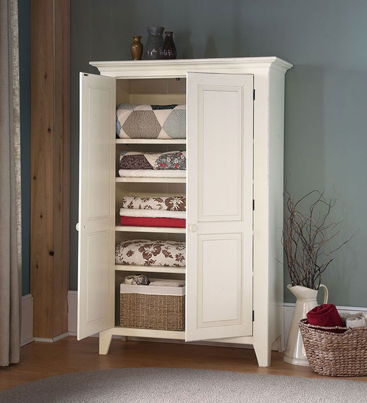 Luxury White Freestanding Linen Cabinet