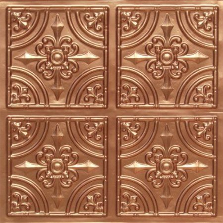 "Amazon.com: Discounted Victorian Faux Copper Plastic Ceiling Tiles #205 PVC 24""x24"" with Overlaping Edges Ul Rated,class A.glue On,nail On,tape On,staple On!: Home & Kitchen"