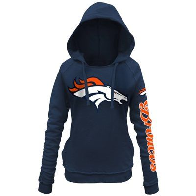 Denver Broncos 5th and Ocean by New Era Women's Snap Count Pullover Hoodie – Navy Blue