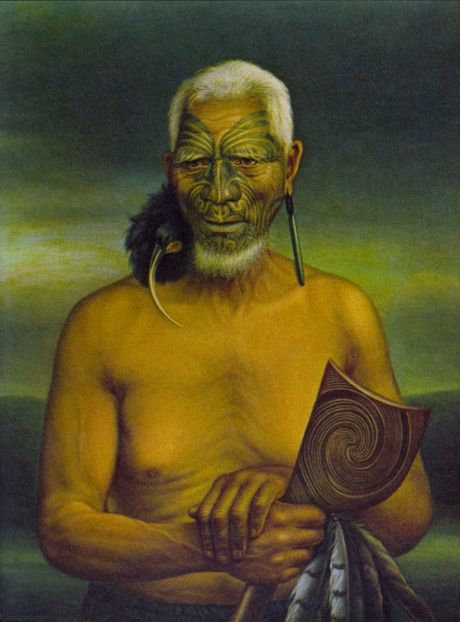 "Moko, Maori, Painting by Gottfried Lindauer of Maori chief Tukukino, late nineteenth century. Tukukino is wearing the dried skin and beak of the huia bird, now extinct.    ""The universality of tattooing is a curious subject for speculation.""  —Captain James Cook"