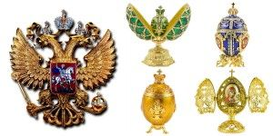 Faberge-style Eggs and Romanov family crest. Traditional Russian Faberge-style eggs available at russianfooddirect.com