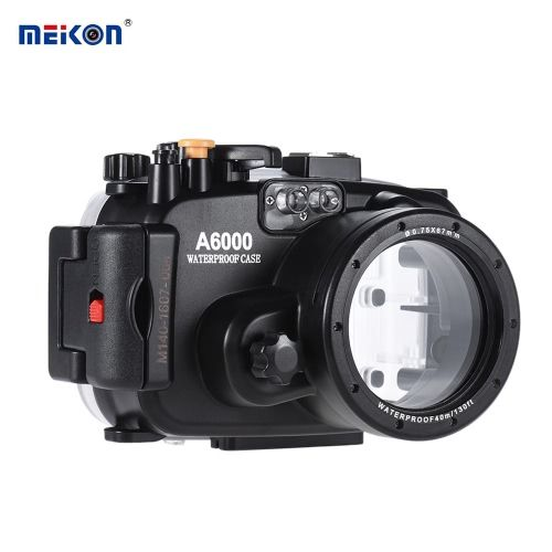 MEIKON SY-13 40m / 130ft Underwater Housing Black Waterproof Camera Case for Sony A6000