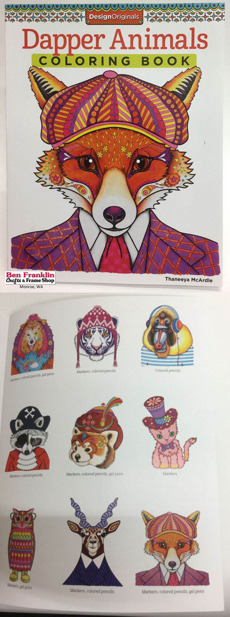 Coloring Books For Adults Dapper Animals By Thaneeya