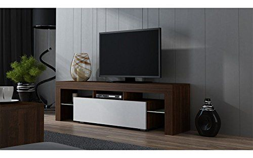 "TV Stand MILANO 160 / Modern LED TV Cabinet / Living Room Furniture / Tv Console fit for up to 70"" flat TV screens / Capacity Tv Console for Modern Living Room (Walut & White)"