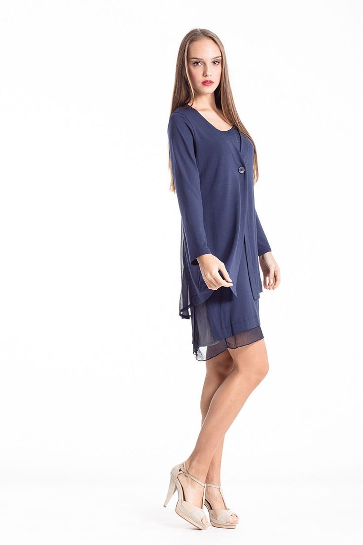 Minimal color and yet wonderful design for this sheer navy-blue cardigan. Shop the look in the link below. #sheer #dress #navy #blue #minimal #glamourous #perfect #conquista