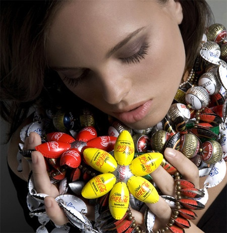 beautiful jewelry made from recycled bottle caps by Yoav Kotik