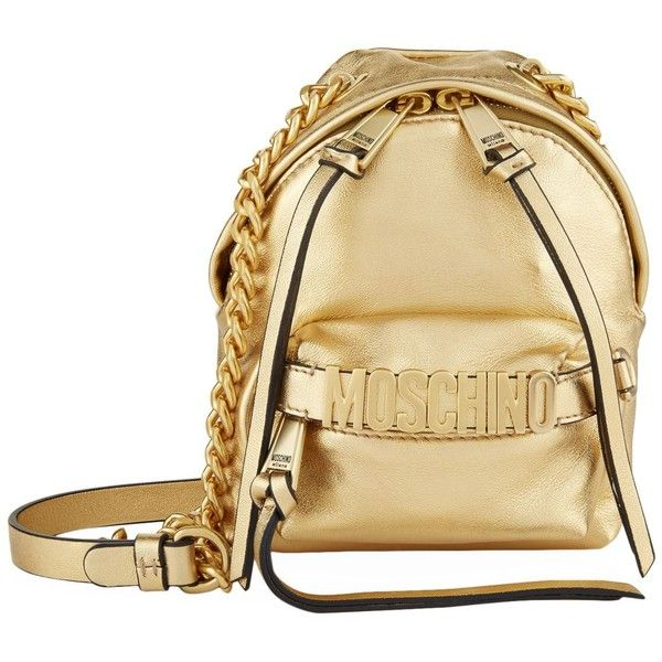 Moschino Leather Logo Backpack (3.080 BRL) ❤ liked on Polyvore featuring bags, backpacks, beige backpack, leather backpacks, moschino backpack, day pack backpack and leather backpack bag