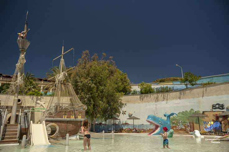 "The pool with the pirate ship is a magical world of exploration for children , complete with small slides and ""cannons"" who throw water."