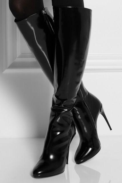 34b6988ef39a Black Shiny Patent Leather Women 65.00   Highheelboots