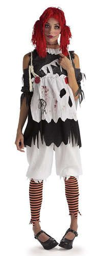 scary goth raggedy ann rag doll girl halloween costume outfit adult woman