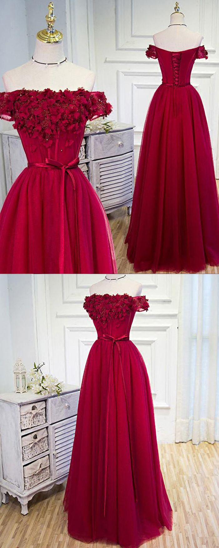 Off the shoulder red tulle long prom dress with handmade flowers