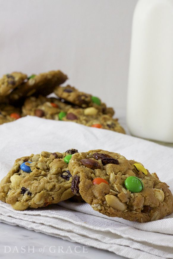 Unleash your inner Cookie Monster with these Monster Mountain Trail Mix Cookies! Recipe on dashofgrace.com