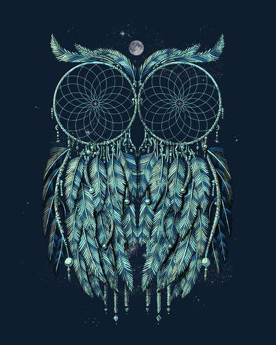 """Owl Dream"" by Jorge Garza. Homepage at http://www.qetza.com/Qetza/Home.html.  T-shirt at http://www.designbyhumans.com/shop/t-shirt/owl-dreamcatcher-shirt/14575/.  Owl print at...    https://www.flickr.com/photos/59454733@N03/14544843722/"