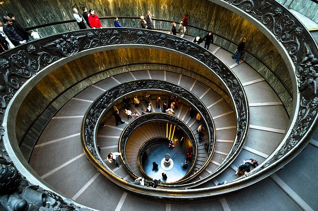 Italy / Rome - Vatican museum stairs by Manu Foissotte