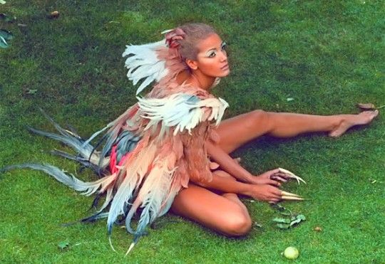 One more pic of Selita Ebanks as Kanye's Runaway Pheonix... love the plastic green glass and the colors in her wings.