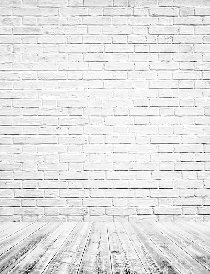 Printed Retro White Brick Wall Texture With Old Floor Photography