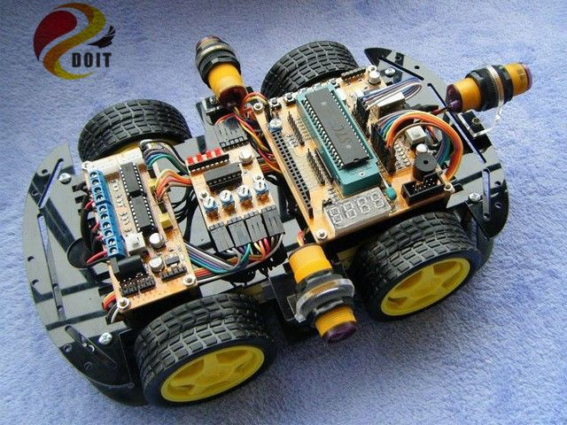 Official DOIT Smart RC Car Chassis 4 Driver Power Tracking Chronological with Encoder Speed 4WD diy rc toy robot UNO R3