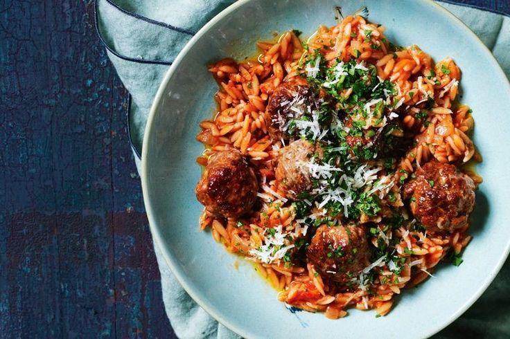 Pork sausages make tasty little meatballs in this speedy dinner idea.