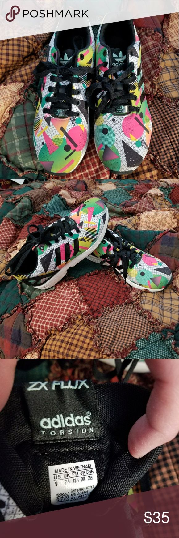 Adidas geometric colorful shoes women's size 9 Adidas Geometric  shapes colorful women's shoes size 9. Super awesome looking! Gently used adidas Shoes Athletic Shoes