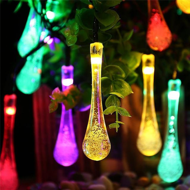 solar powered led low energy costs water drop appearance environment look out of ordinary lights turn on automatically rechargeable ni mh battery m length - Custom Length Christmas Lights