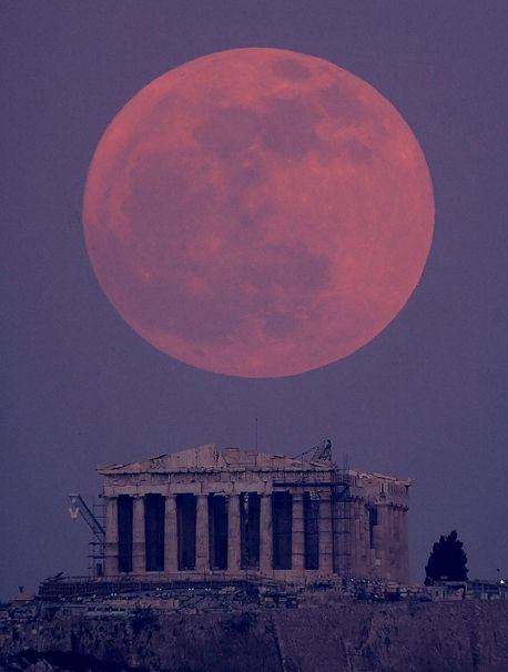 The Super Moon in Athens: Parthenon, Athens Greece, Favorite Places, Super Moon, Beautiful, Fullmoon, Full Moon, Travel, Supermoon