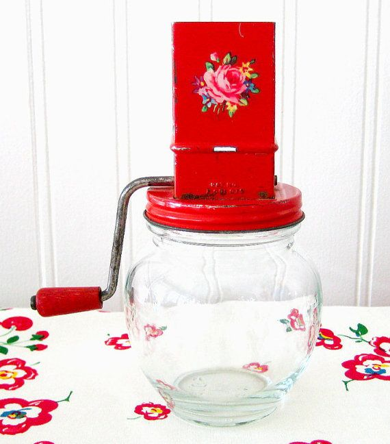 1950s Vintage Kitchen Grater Red Tin Top Hazel by RedDotTeapot, $8.00