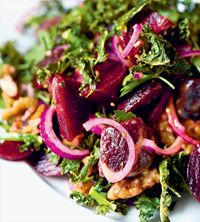 Beetroot and pickled walnut salad with minted yoghurt recipe from 15 minute vegan by Katy Beskow | Cooked