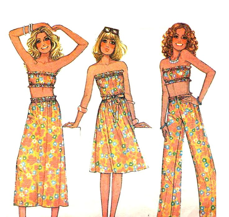 Vintage 1970s Tube Top, Dress or Skirt and Pants McCall's 5077 Quick and Easy Sewing Pattern--Bust 30.5 to 31.5. $7.95, via Etsy.
