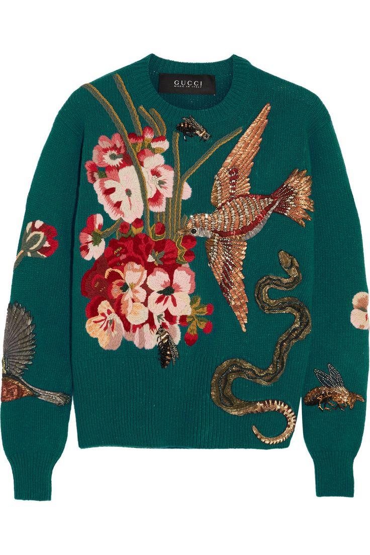 Gucci   Pull en laine brodé   NET-A-PORTER.COM