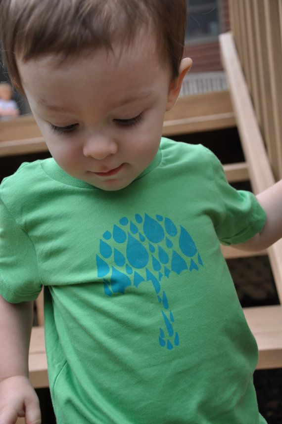 Umbrella Raindrop Spring T-Shirt on Grass Green!  April showers bring May flowers!  Dress your adorable little one in this hand-drawn hand screen printed shirt from Little Figs.  Only $17.50!!