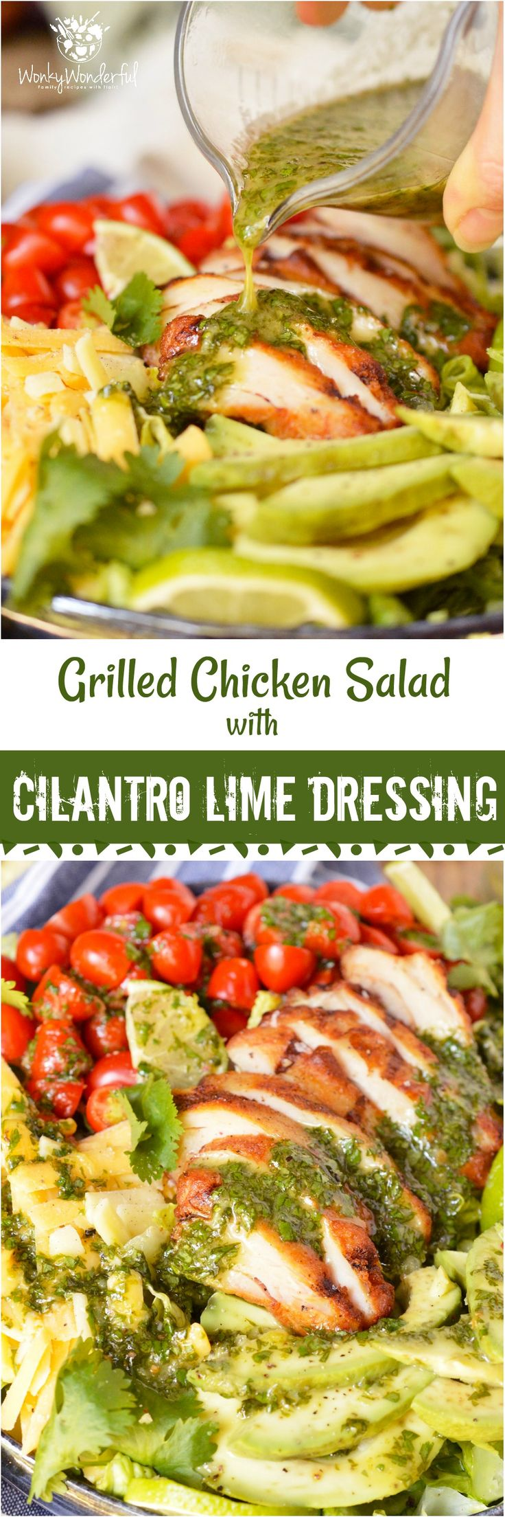 For a quick, fresh, easy and nutritious meal look no further than thisGrilled Chicken Salad with Cilantro Lime Dressing. Romaine lettuce topped with tomatoes, avocado, cheese, grilled chicken and cilantro lime vinaigrette... this is an easy dinner recipe that you can feel good about! #ad #healthyrecipe #wonkywonderful