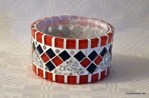 Handgefertigtes Windlicht rot schwarz 5 cm hoch