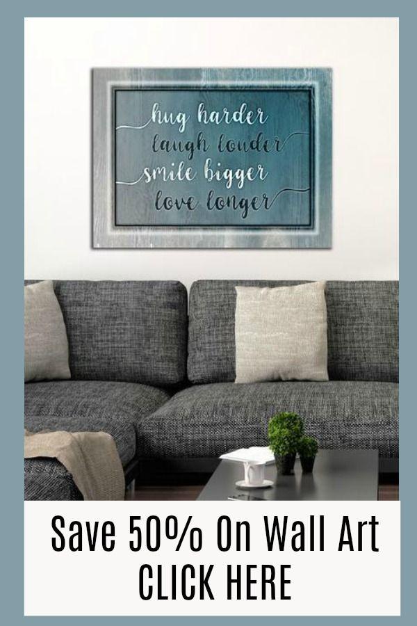 Living Room Wall Art Hug Smile Saying Wood Frame Ready To Hang