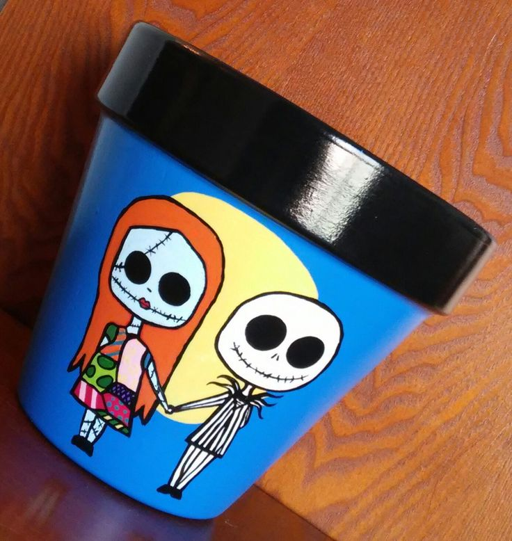 """Hand-painted terracotta pot Nightmare Before Christmas """"Jack & Sally Skellington"""" (8 inch) by CrawfordBunch on Etsy"""