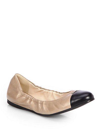f5e4155371 Prada - Scrunchy Leather Cap-Toe Ballet Flats - Saks.com | Shoes |  Pinterest | Ballet flat, Cap and Leather