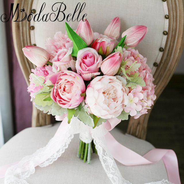 New Light Pink Artificial Flowers Wedding Bouquet For Bride Buque De Casamento Da Noiva Bud Lace Broach Bouquet De Mariage 2017