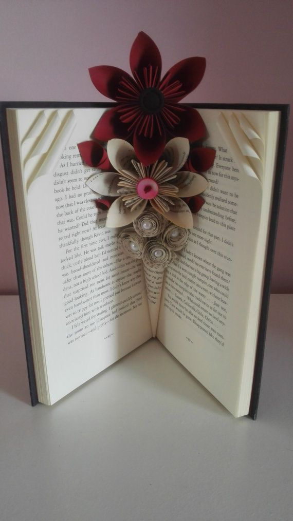Paper flowers, floral arrangements, book vase, book decoration, paper vase, mothers day gift, folded book art, 1st Anniversary