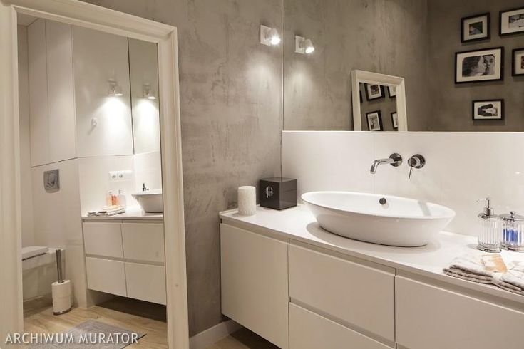 Beton na ścianie w łazience