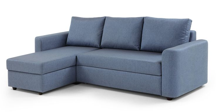 Albie Left Hand Facing Corner Storage Sofa Bed, Denim Haze