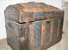 Antique trunk restoration and refinishing by Shenandoah Restoration, before and after pictures, hardware, parts, supplies