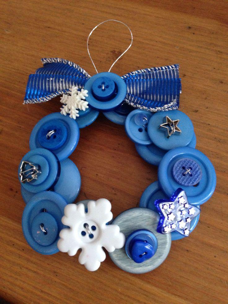 Blue button wreath. Let it snow, let it snow, let it snow!