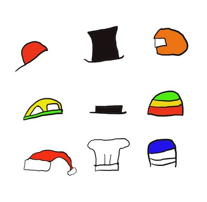 Nine different colourful stick figure style hats