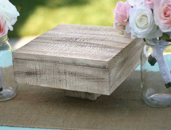 Barn Wood Shabby Style Medium Cake Stand Vintage Inspired Rustic Chic Wedding Decoration Custom You Pick The Color