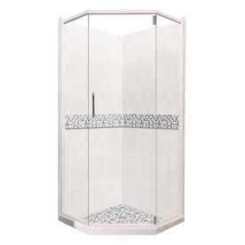 American Bath Factory Laguna Light with Accent Fiberglass and Plastic Neo-Angle 14-Piece Corner Shower Kit (Actual: 80-in x 36-in x 36-in)