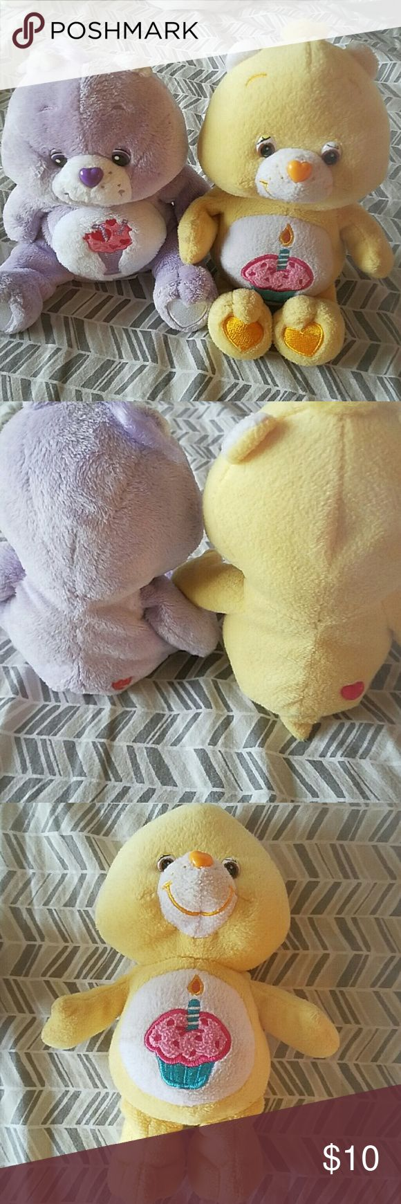 Lot of 2 vintage Care Bears Purple and yellow one!